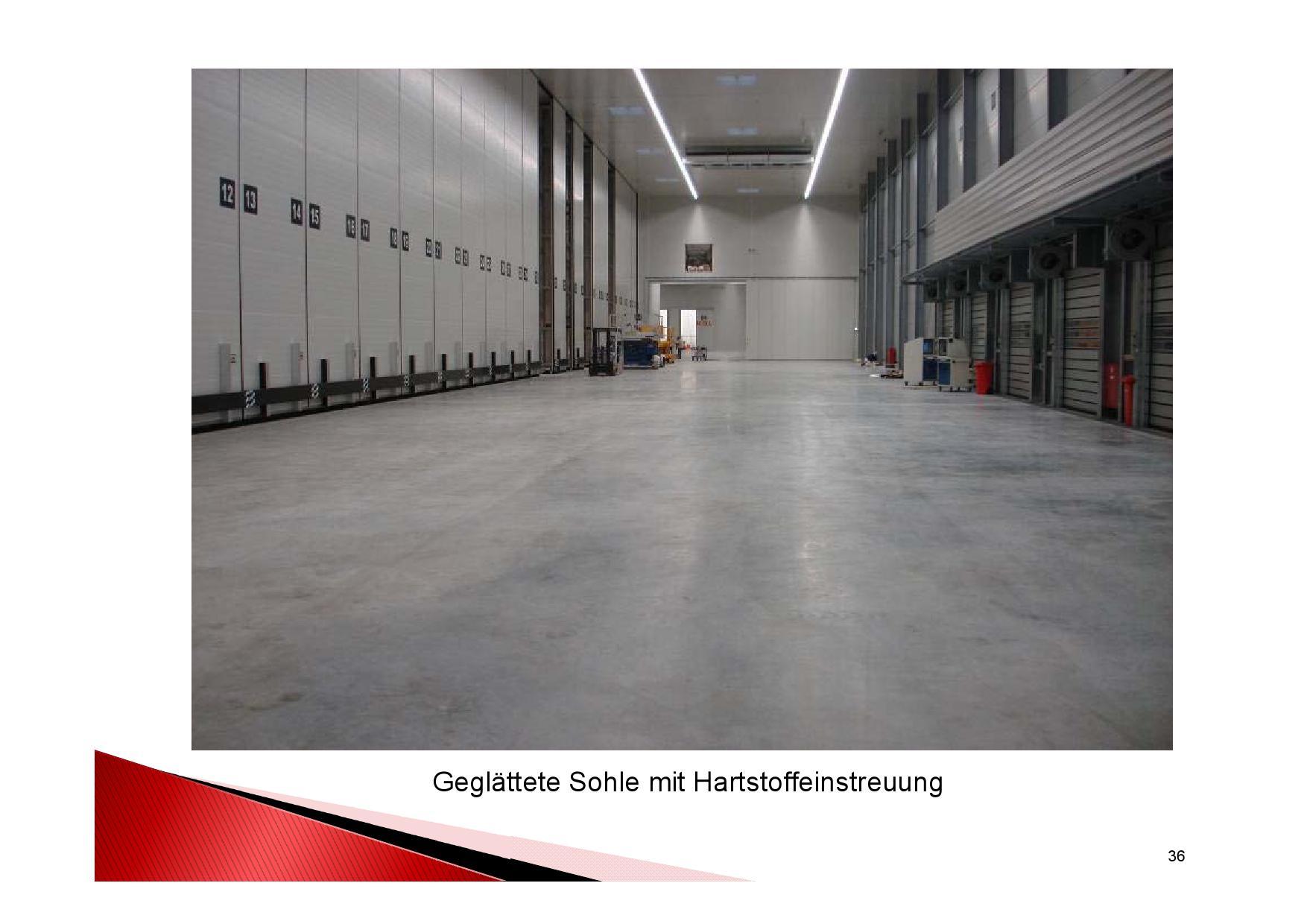 Nach Fertigstellung des Industriebodens: Geglättete Sohle mit Hartstoffeinstreuung