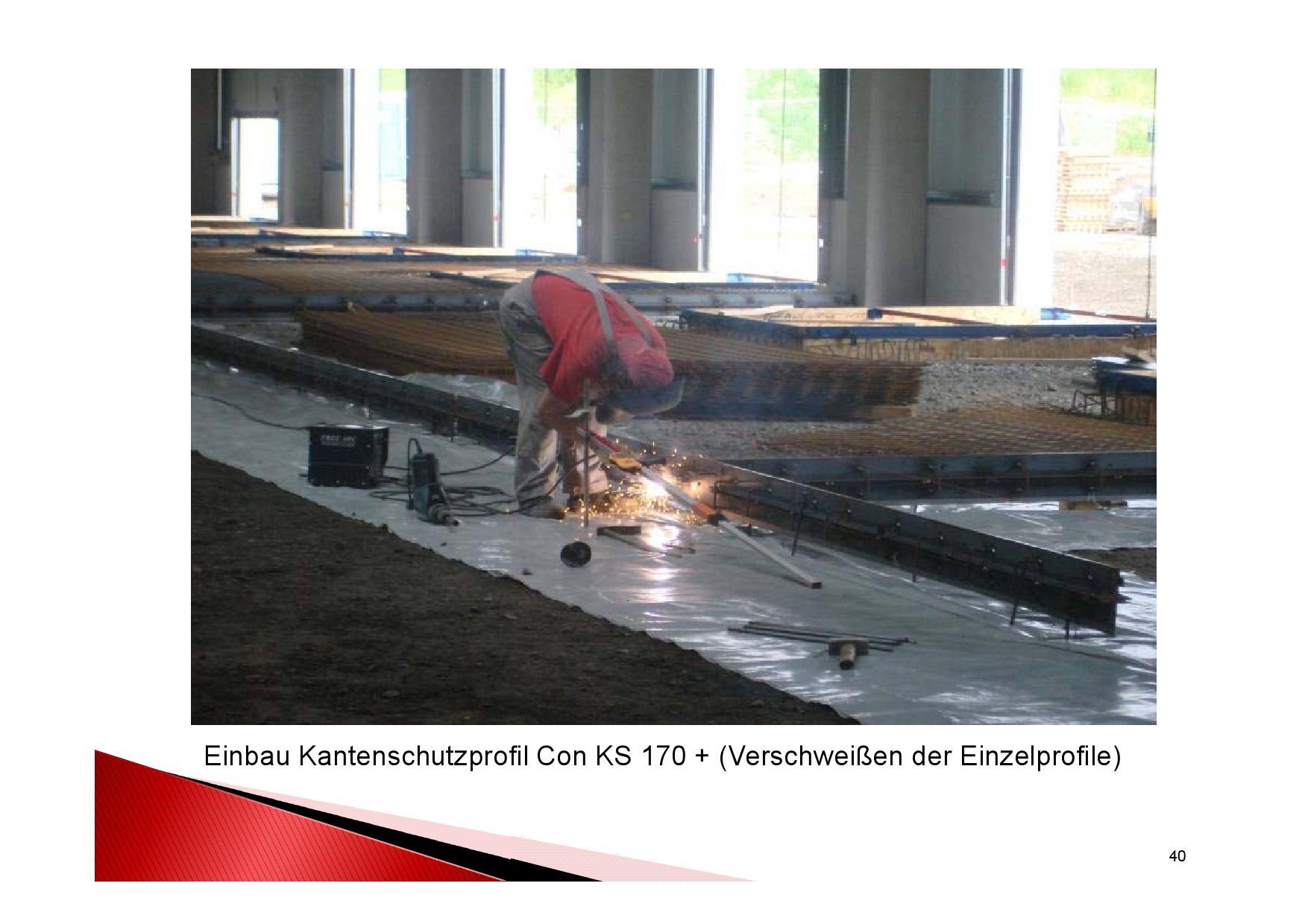 Industrieboden Herstellung: Einbau Kantenschutzprofil Con KS 170+ (Verschweißen der Einzelprofile)