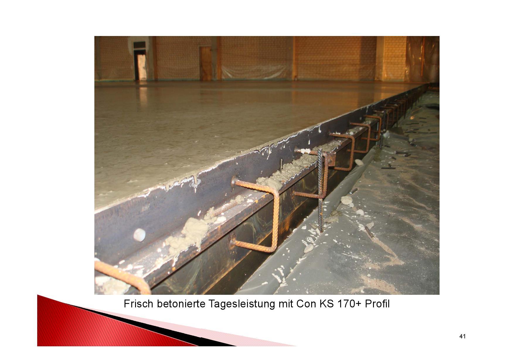 Industrieboden Herstellung: Frisch betonierte Tagesleistung mit Con KS 170+ Fugenprofil
