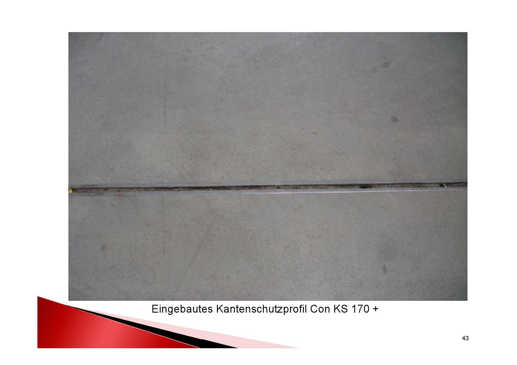 Industrieboden Herstellung: Eingebautes Kantenschutzprofil Con KS 170+