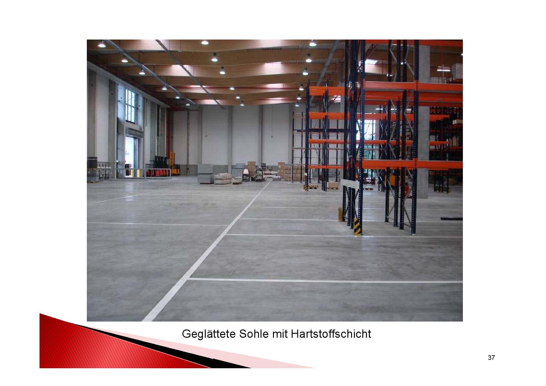Industrieboden Herstellung: Geglättete Sohle mit Hartstoffschicht