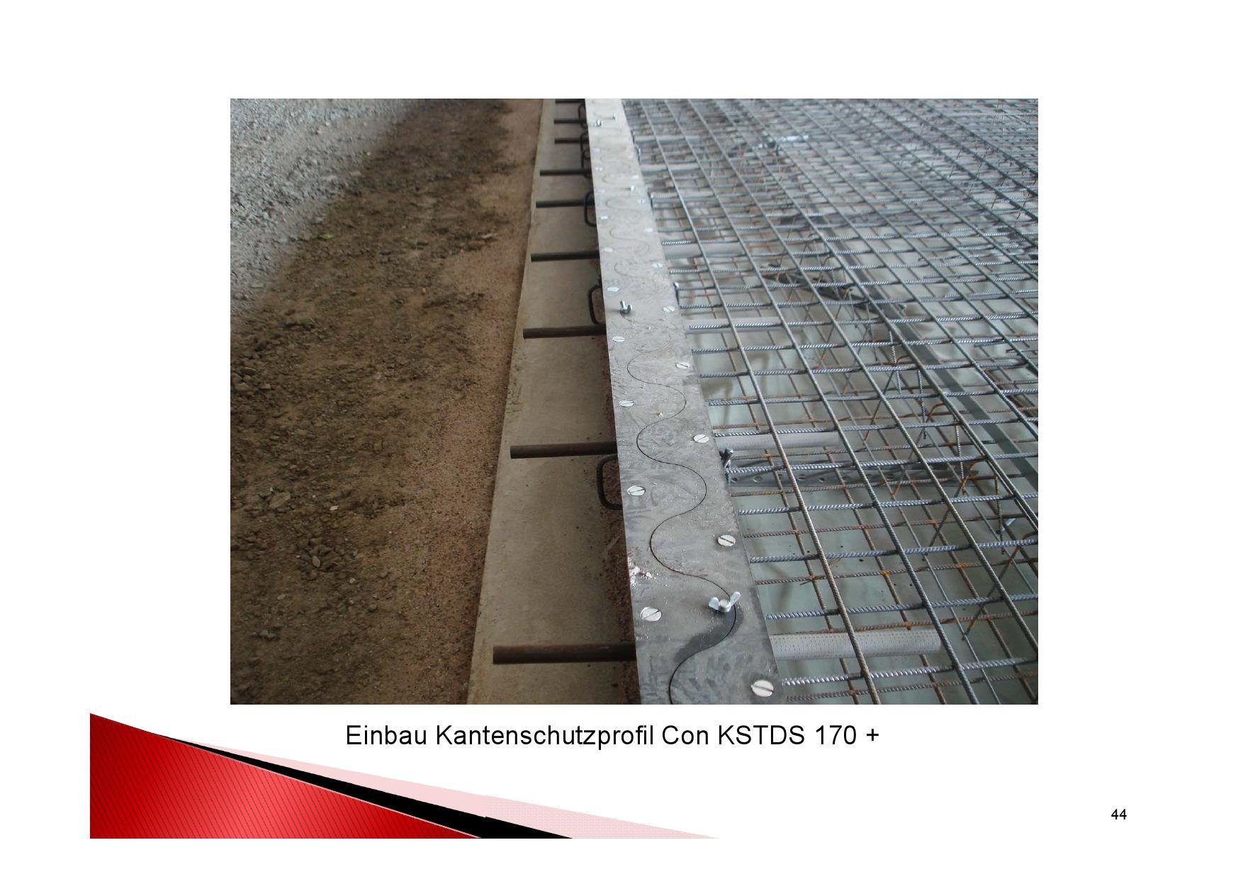 Industrieboden Herstellung: Eingebau Kantenschutzprofil Con KSTDS 170+