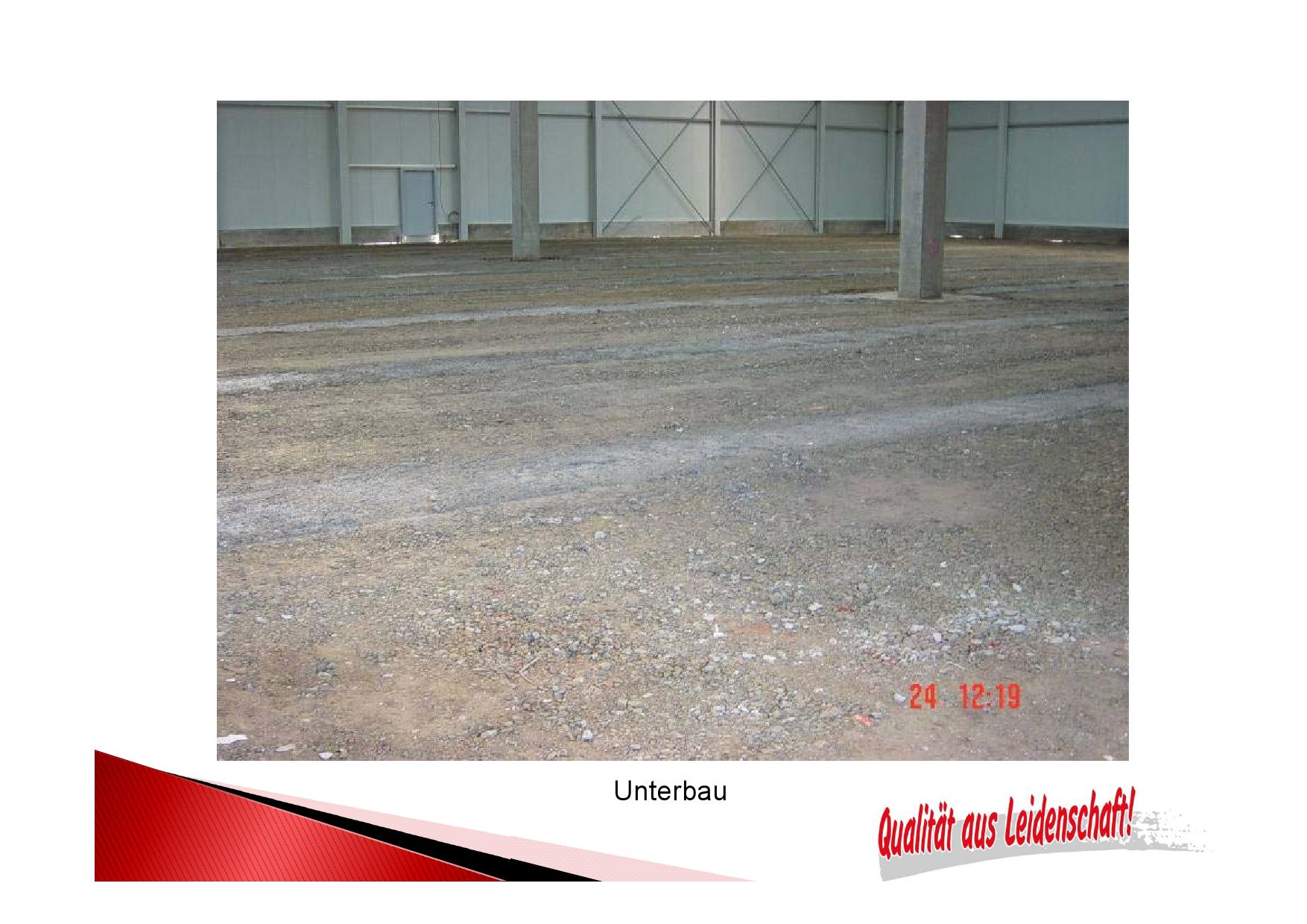 Unterbau  für einen tragfesten Industrieboden