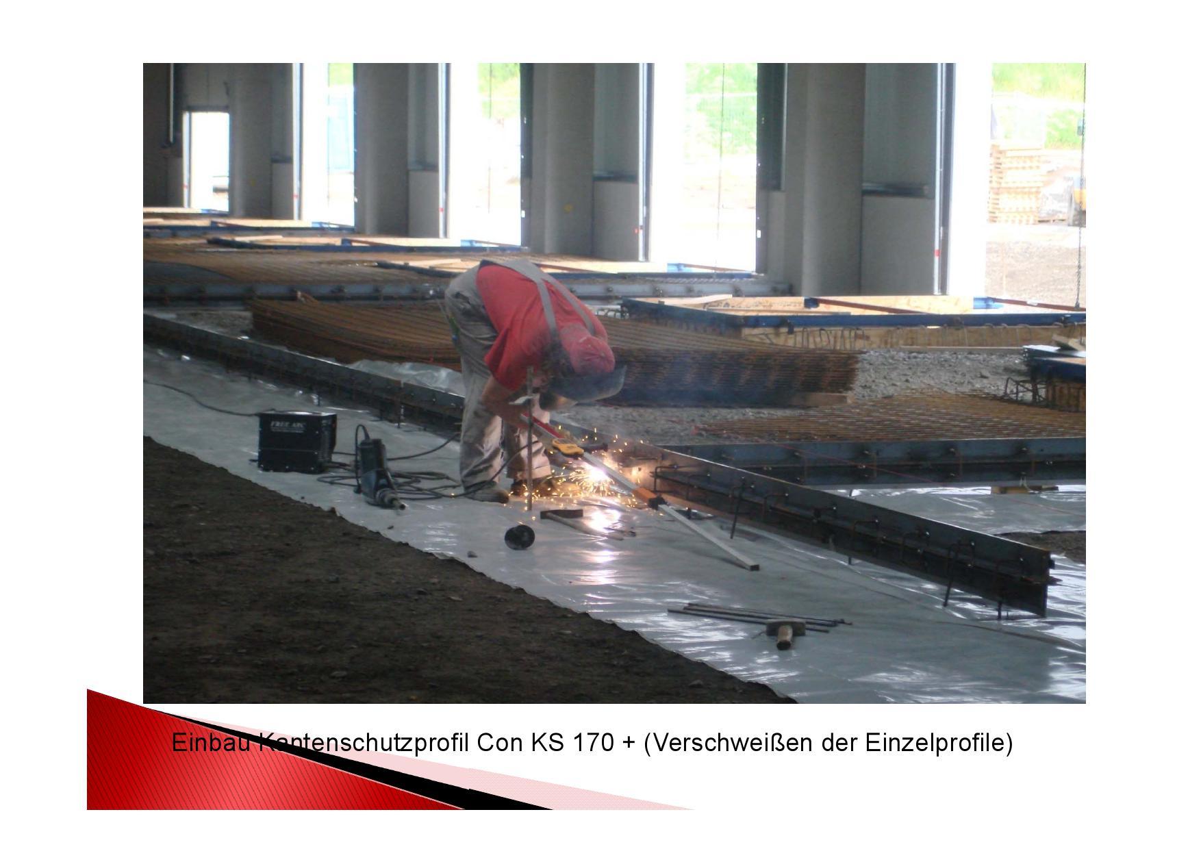 Einbau Kantenschutzprofil Con KS 170+ verschweißen der Einzelprofile