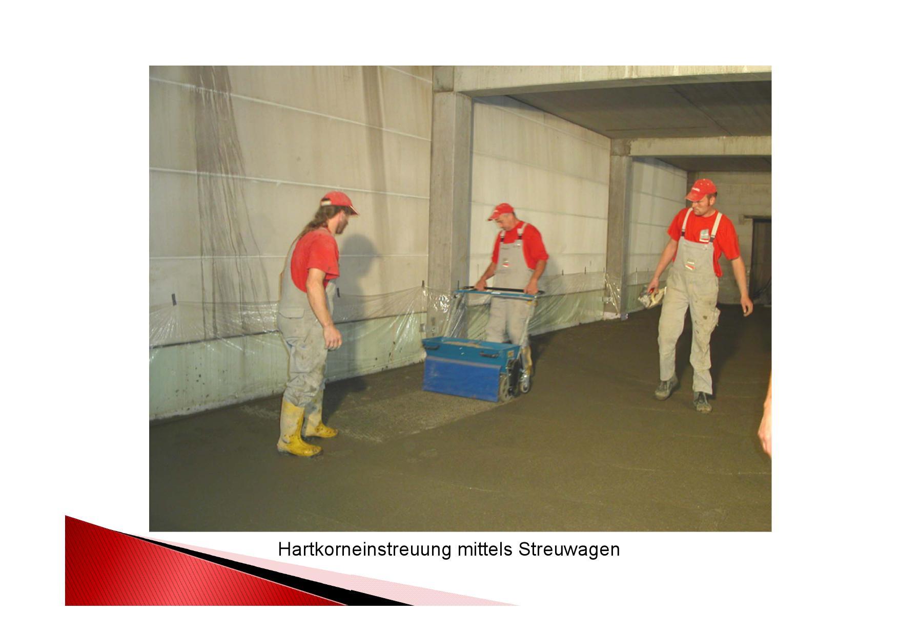 Arbeitsgang: Hartkorneinstreuung  mittesl Streuwagens