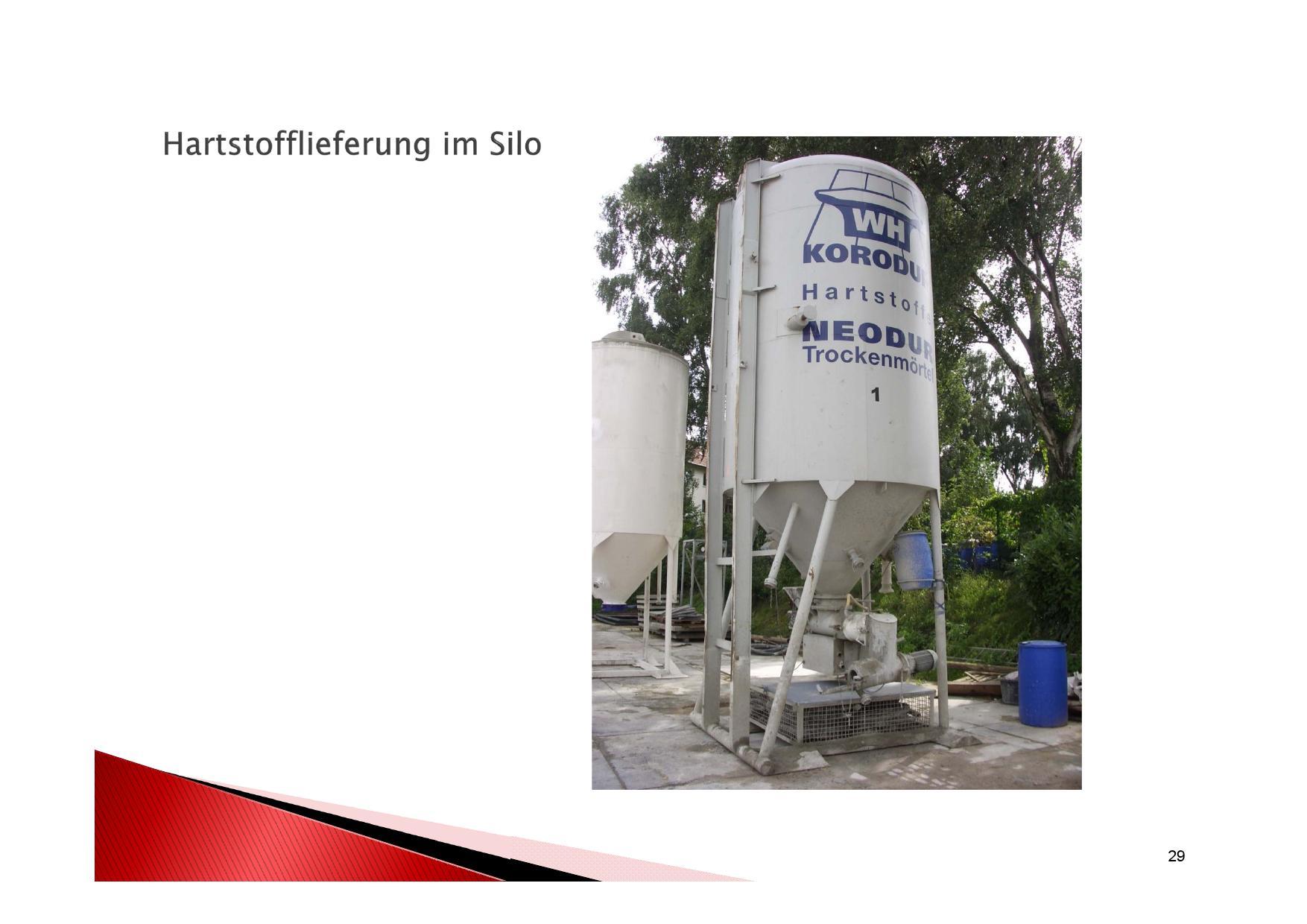 Vorbereitung für Hartstoffschicht aufbringen, Anlieferung des Materials im Silo