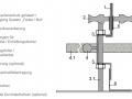 Skizze des Fugenprofils Querschnitts mit der optionalen Alternative Dübel statt Feder/Nut