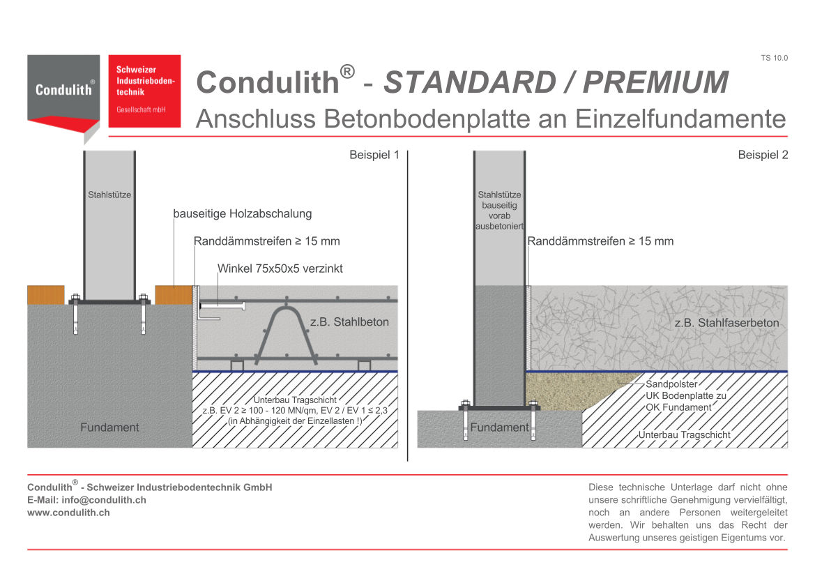 Planungshilfe Industrieboden: Anschluss Bodenplatte an Einzelfundamente