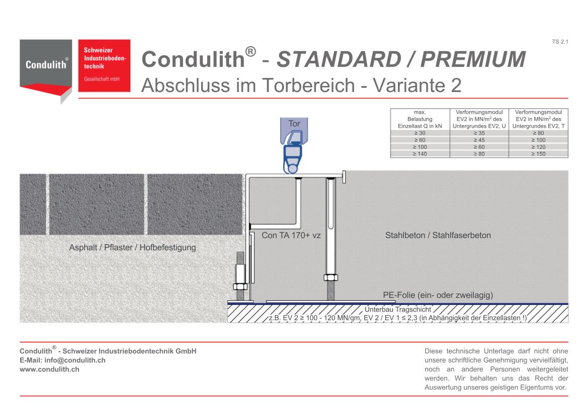 Planungshilfe Industrieboden: Betonboden Anschluss im Torbereich - Variante 2
