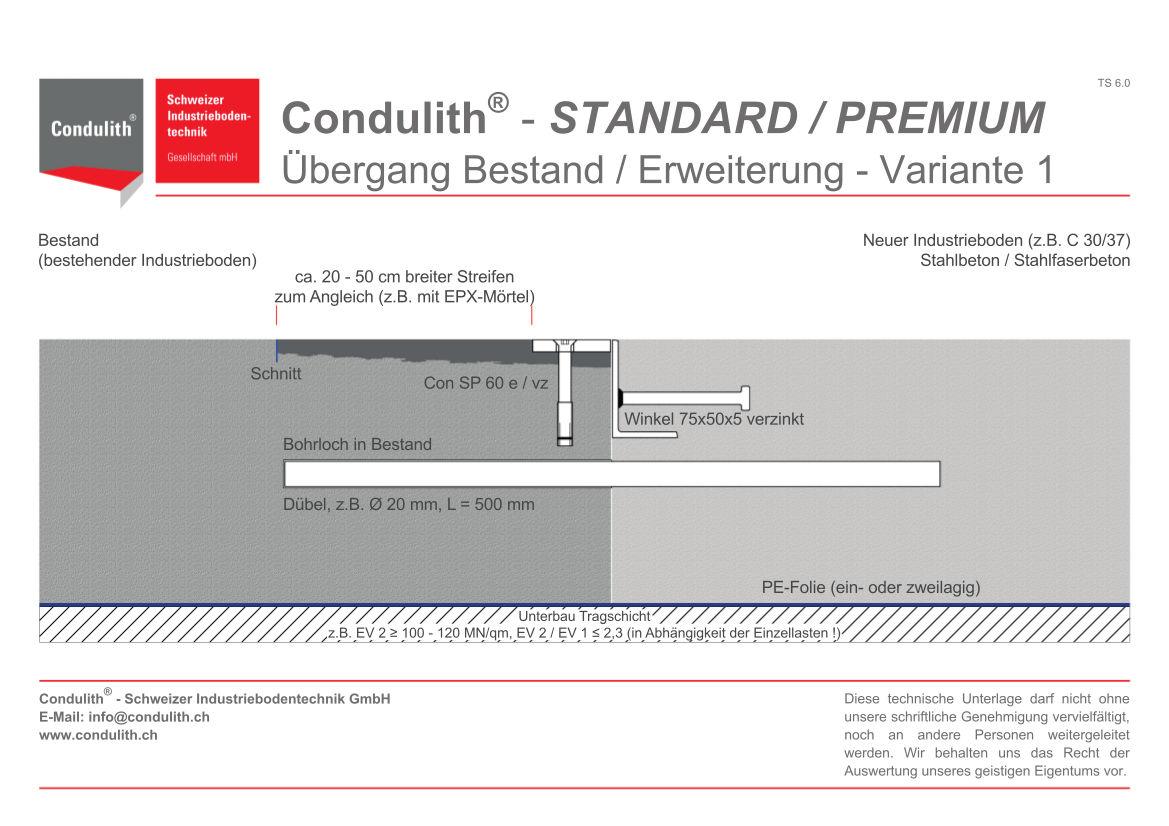 Planungshilfe Industrieboden: Übergang Bestand / Erweiterung - Variante 1