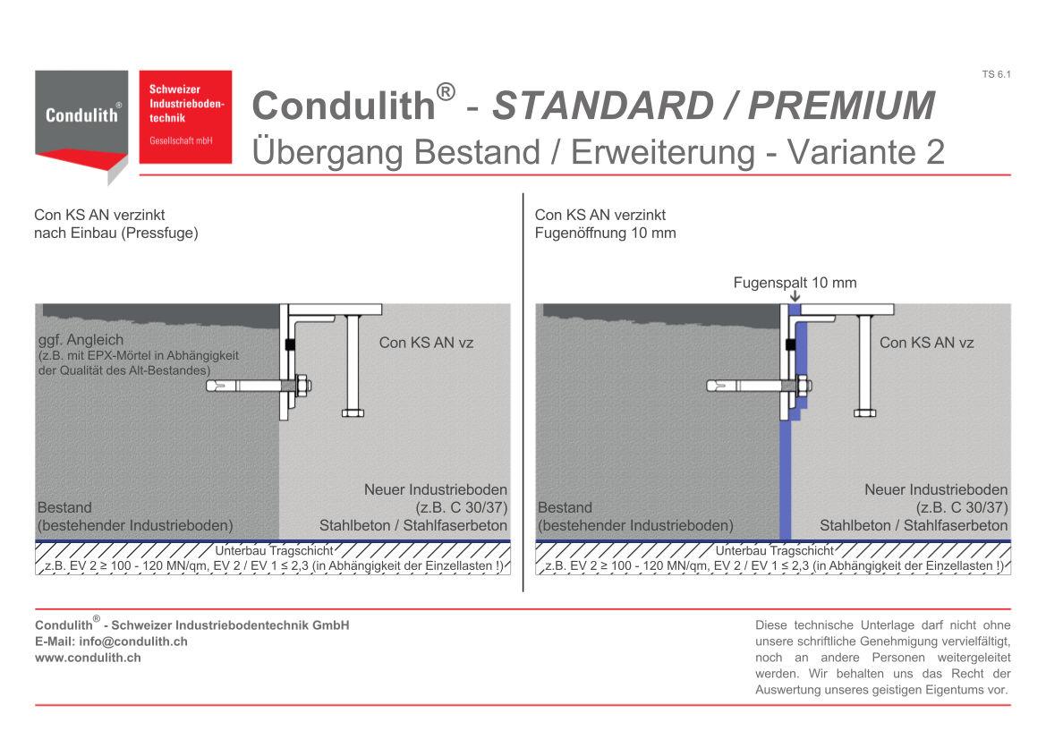 Planungshilfe Industrieboden: Übergang Bestand / Erweiterung - Variante 2