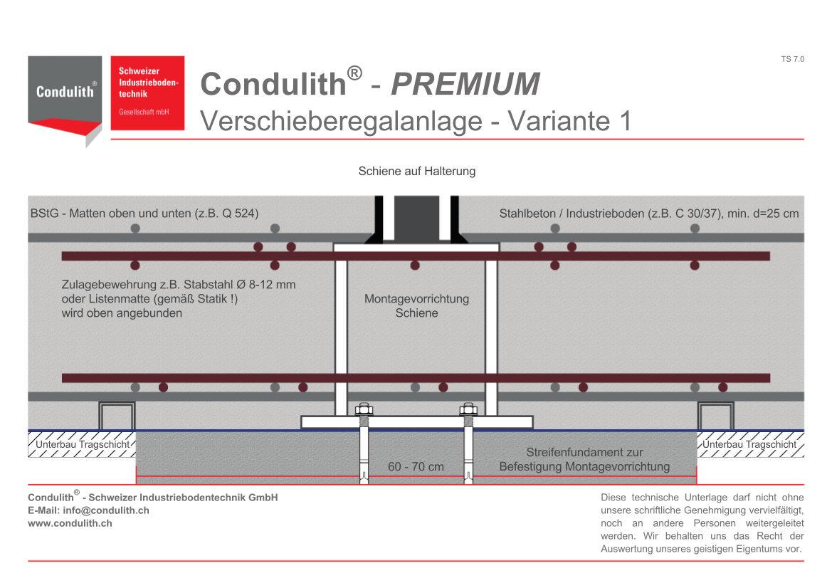 Planungshilfe Industrieboden: Verschieberegalanlage - Variante 1
