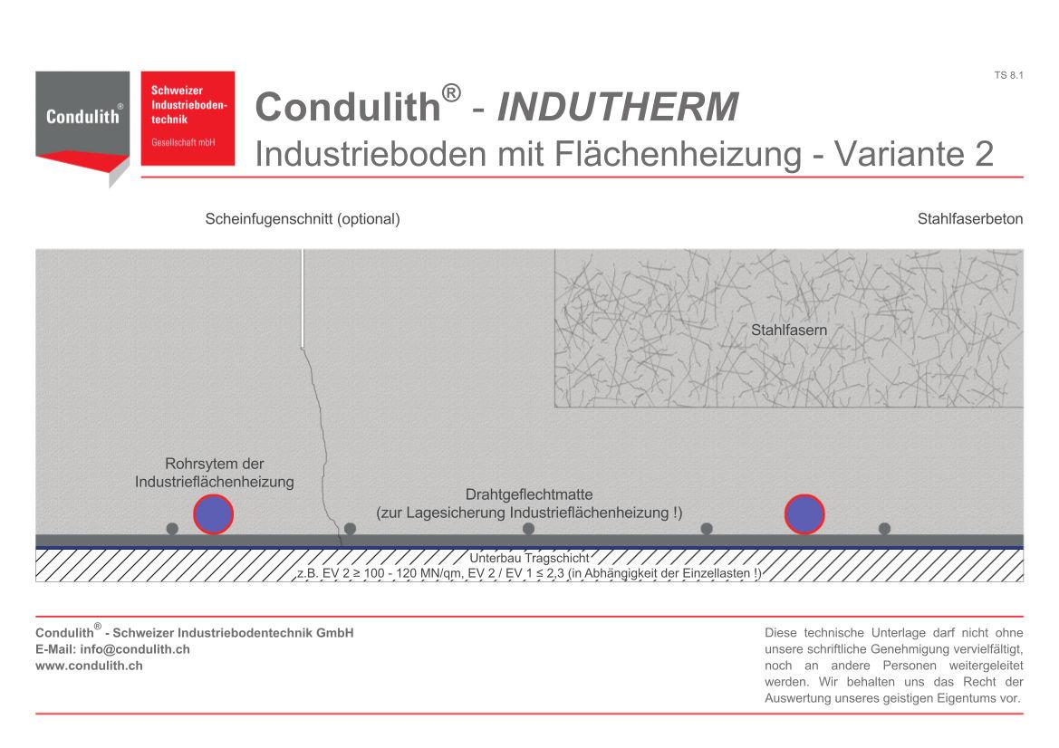 Planungshilfe Industrieboden: Industrieboden mit Flächenheizung - Variante 1